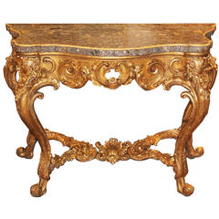 Striking Late 18th Century Italian Louis XV Giltwood Console Table