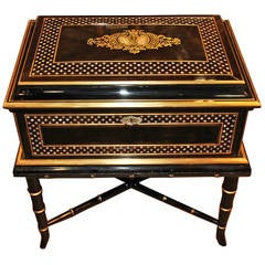 19th Century Anglo-Indian Ebonized Box on Stand