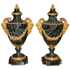 Pair of 19th Century French Issori Verdi Marble Urns