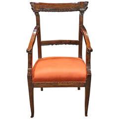 Late 18th Century Italian Louis XVI Cherrywood Armchair