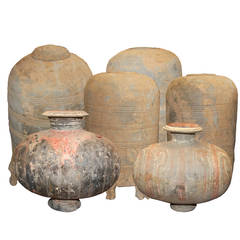 Collection of Six Chinese Han Dynasty Earthenware Jars