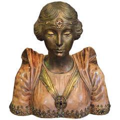 English Art Nouveau Bust of the Royal Princess Mary
