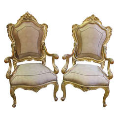 Regal Pair of 18th Century Carved Giltwood Italian Louis XV Armchairs