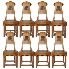 Set of Eight Late 19th Century Russian Birch Dining Chairs