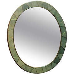 20th Century Shagreen Oval Mirror