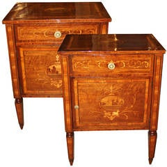 Pair of 18th Century Italian Louis XVI Marquetry Bedside Commodini