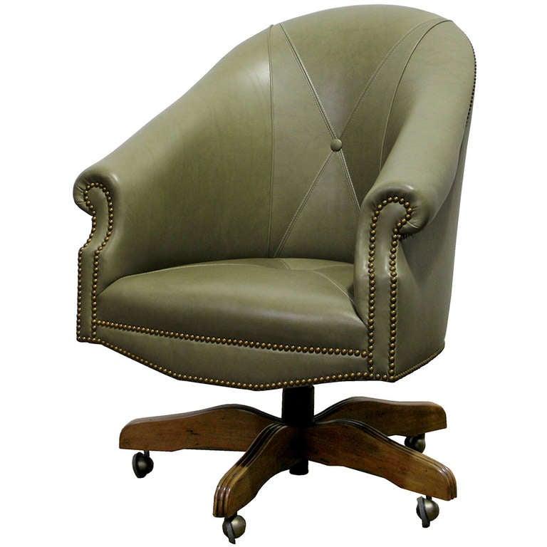 A Custom Adjustable Leather Executive Desk Chair At 1stdibs