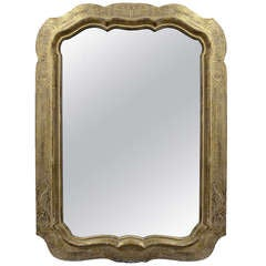 Mid-20th Century Shaped Parcel Giltwood and White Polychrome Mirror