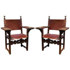 Pair of Rare 17th Century Spanish Walnut Armchairs