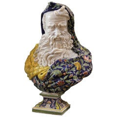 """Monumental 19th Century French Rouen Faience Bust of """"Winter"""""""