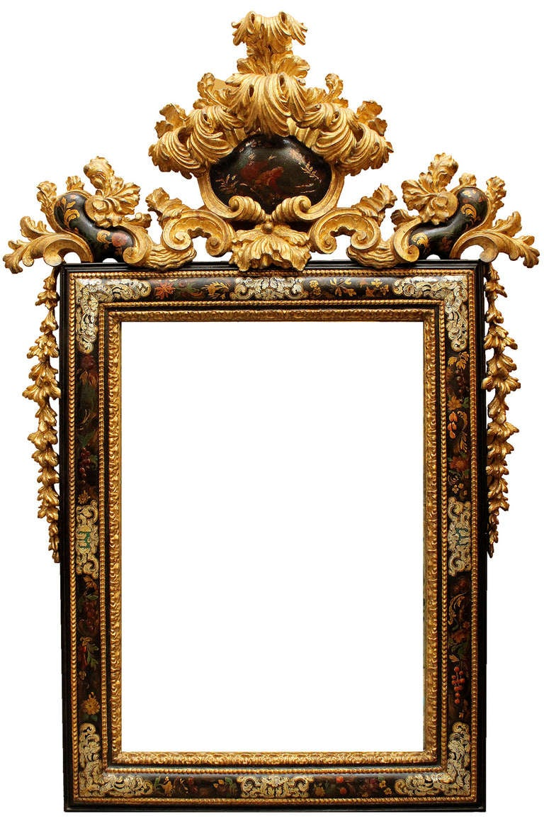 A Pair of Late 17th C. Venetian, Mother-of-Pearl-Inlaid and Giltwood Mirrors image 5