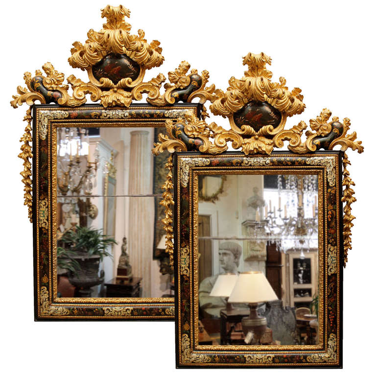 A Pair of Late 17th C. Venetian, Mother-of-Pearl-Inlaid and Giltwood Mirrors