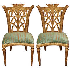 Rare Pair of Late 18th Century English Giltwood Side Chairs