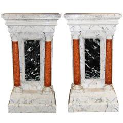 18th Century Pair of Rare Italian Pedestals