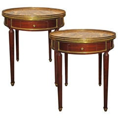 Pair of 19th Century French Mahogany Bouillotte Tables