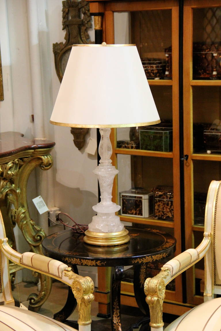 Pair Of Rock Crystal Candlesticks Now Converted Into Table Lamps For Sale At 1stdibs