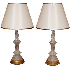 Pair of Rock Crystal Candlesticks Now Converted into Table Lamps