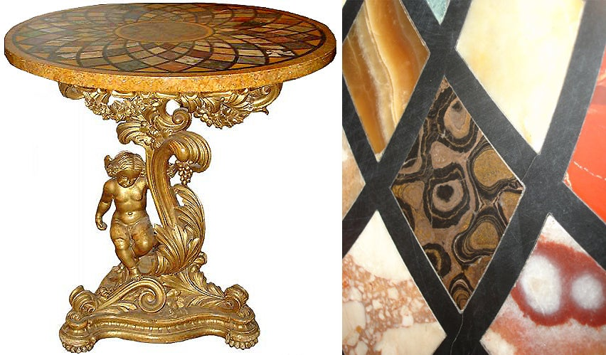 18th Century Italian Pietra Dura and Giltwood Specimen Table 2