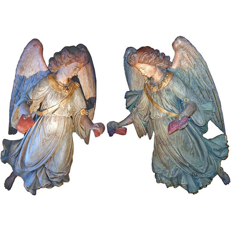 Monumental Pair of 18th Century Polychrome and Parcel-Gilt Angels 1