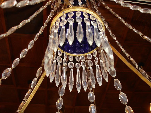 Pair of 19th Century Cobalt Blue and Clear Crystal Russian Chandeliers 5