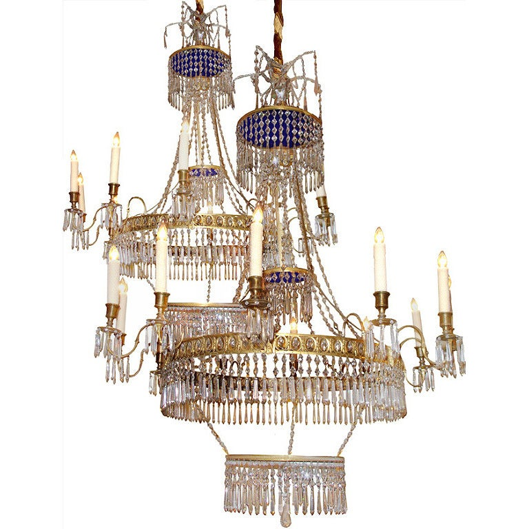Pair of 19th Century Cobalt Blue and Clear Crystal Russian Chandeliers 1