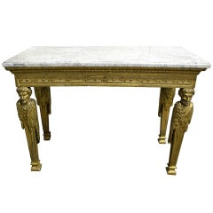Highly Important Late 18th Century Italian Louis XVI Giltwood Console Table