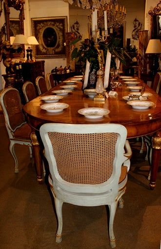 Harlequin Set of 12 Italian Louis XV Dining Armchairs and Side Chairs 4