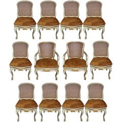 Harlequin Set of 12 Italian Louis XV Dining Armchairs and Side Chairs