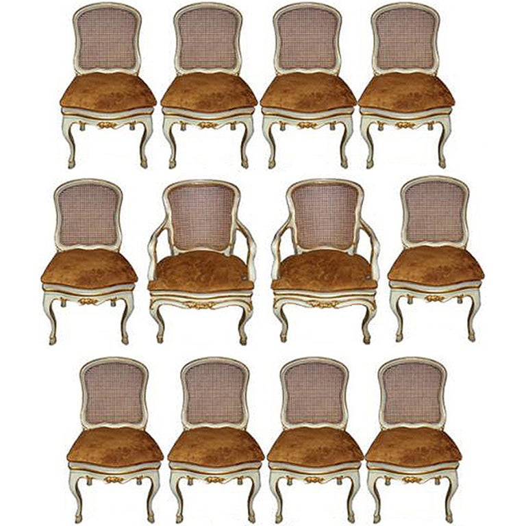 Harlequin Set of 12 Italian Louis XV Dining Armchairs and Side Chairs 1