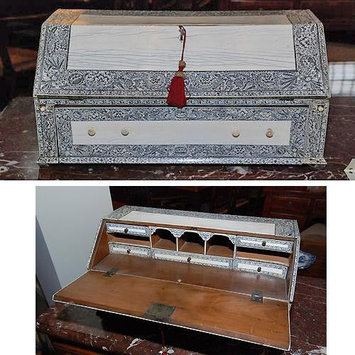 19th Century Anglo-Indian Lac-Engraved Bone Tabletop Accessory Box 2