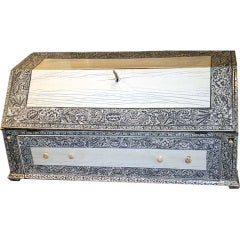 19th Century Anglo Indian Lac Engraved Bone Tabletop Accessory Box