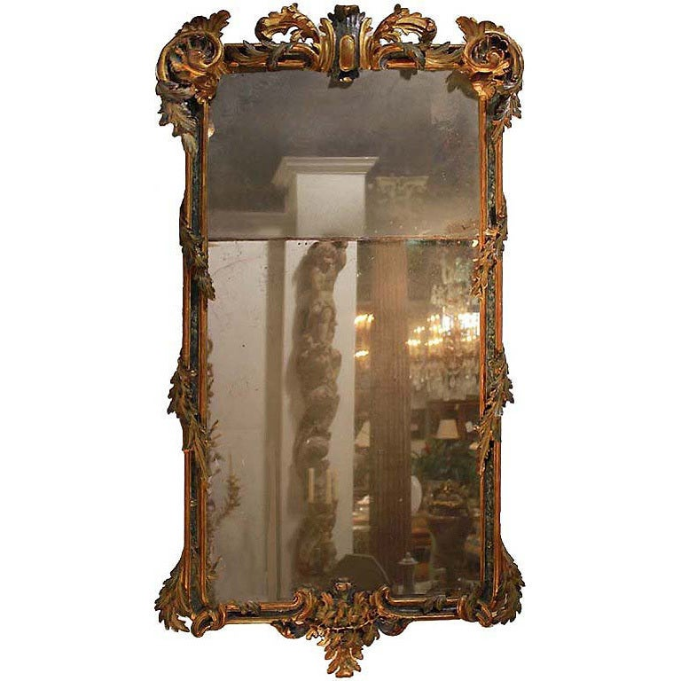 Early 18th Century Italian Regence Polychrome and Parcel-Gilt Mirror 1