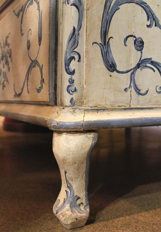18th Century Italian Painted Blue and White Commode Chest of Drawers 5