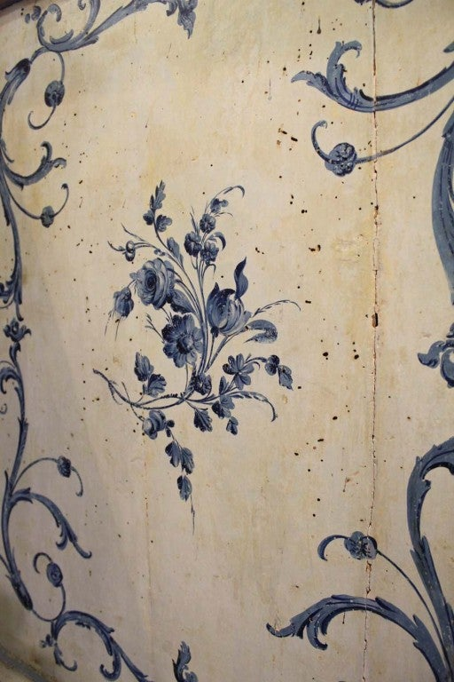 18th Century Italian Painted Blue and White Commode Chest of Drawers 6