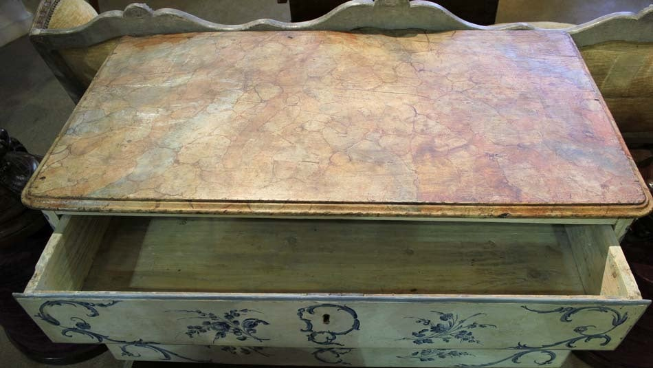 18th Century Italian Painted Blue and White Commode Chest of Drawers 8