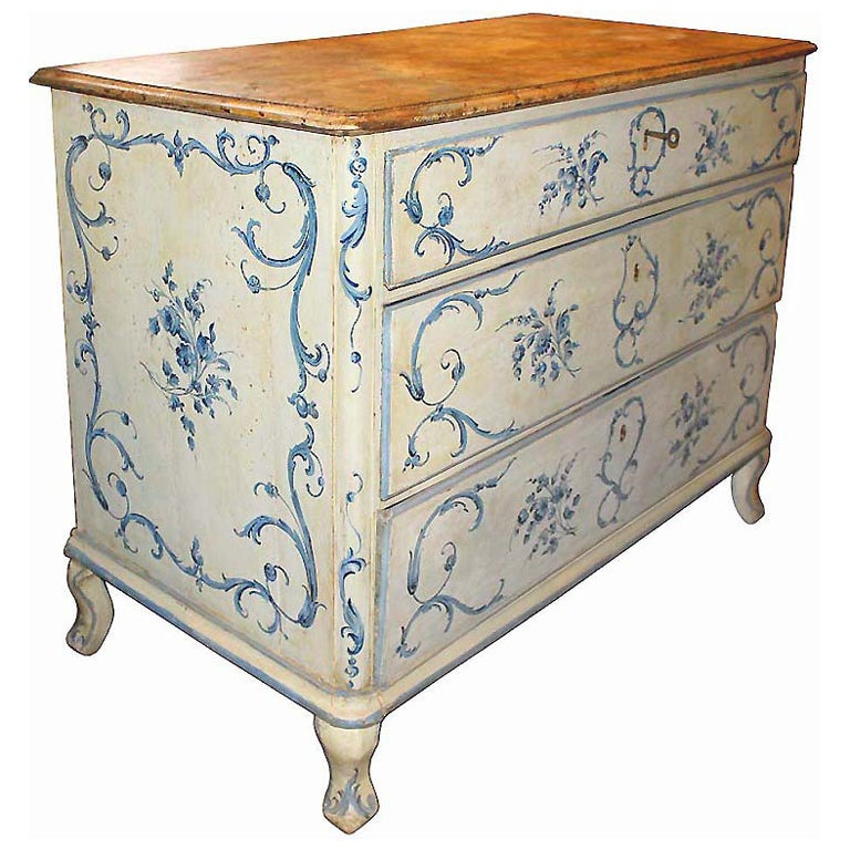 18th Century Italian Painted Blue and White Commode Chest of Drawers 1