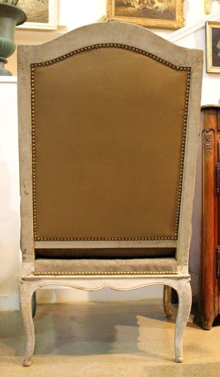 Mid-18th Century French Louis XV Painted Fauteil Wing Chair 10