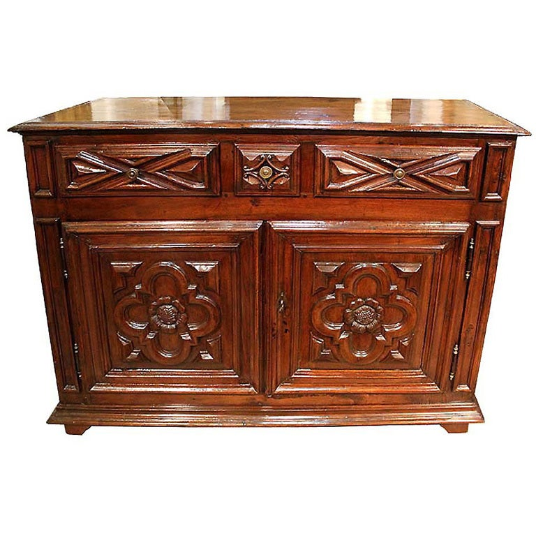 18th Century Geometric Italian Walnut Credenza and Sideboard Cabinet 1