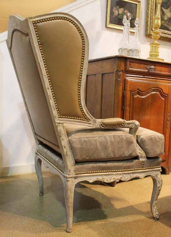 Mid-18th Century French Louis XV Painted Fauteil Wing Chair 9