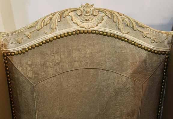 Mid-18th Century French Louis XV Painted Fauteil Wing Chair 6