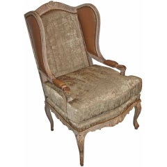 Mid-18th Century French Louis XV Painted Fauteil Wing Chair