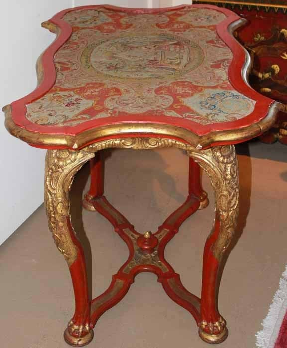18th Century Venetian Painted Giltwood and Needlepoint Side Table 2