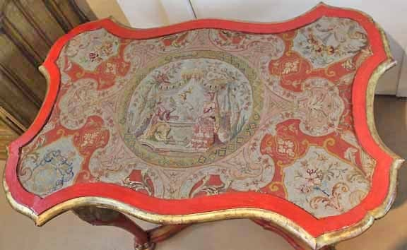 18th Century Venetian Painted Giltwood and Needlepoint Side Table 3
