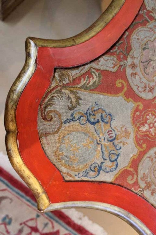 18th Century Venetian Painted Giltwood and Needlepoint Side Table 8