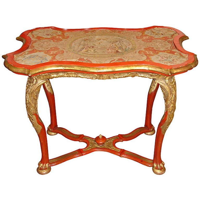 18th Century Venetian Painted Giltwood and Needlepoint Side Table 1