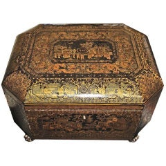 An Intricately Painted Large English Lacquered Tea Caddy