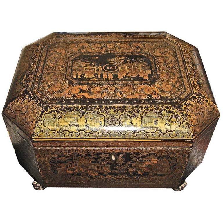 Intricately Painted Large English Lacquered Tea Caddy 1