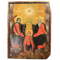 18th Century Greek Icon Oil on Panel