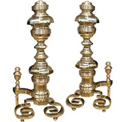 Pair of Palazzo Scaled 19th Century Solid Brass Andirons