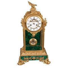 French Ormolu & Malachite Mantel Clock, 19th Century